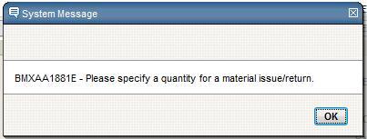 Specify Material Quantity