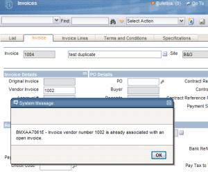 Duplicate invoice vendor